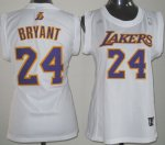 Maillot Femme de Bryant Los Angeles Lakers #24 Blanc