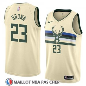Maillot Milwaukee Bucks Sterling Brown No 23 Ciudad 2018 Crema
