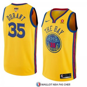 Maillot Golden State Warriors Kevin Durant 35 Ciudad 2017-18 Or
