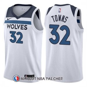 Maillot Minnesota Timberwolves Karl Anthony 32 Towns 2017-18 Blanc