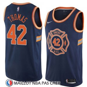 Maillot New York Knicks Lance Thomas No 42 Ciudad 2018 Bleu