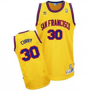 Maillot Retro Warriors Curry 30 Jaune
