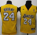 Maillot Enfant de Bryant Los Angeles Lakers #24 Jaune