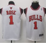 Maillot Enfant de Rose Chicago Bulls #1 Blanc