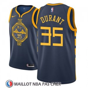 Maillot Golden State Warriors Kevin Durant No 35 Ciudad 2018-19 Bleu