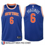 Maillot Enfant New York Knicks Kristaps Porzingis No 6 2017-18 Bleu