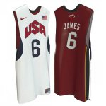 Maillot de James USA NBA 2012 Blanc y Rouge