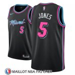 Maillot Miami Heat Derrick Jones No 5 Ciudad 2018-19 Noir