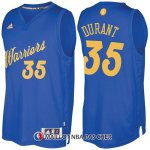 Maillot Authentique Navidad Golden State Warriors Durant 35 2016-17 Bleu