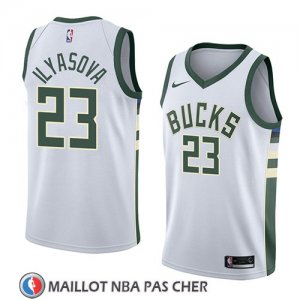 Maillot Milwaukee Bucks Ersan Ilyasova No 23 Association 2018 Blanc