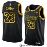Maillot Los Angeles Lakers Lebron James 23 Ciudad 2017-18 Noir
