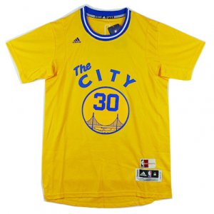 Maillot City Manche Courte Warriors City Curry 30 Jaune
