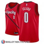 Maillot Portland Trail Blazers Damian Lillard No 0 Earned 2018-19 Rouge