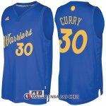 Maillot Authentique Navidad Golden State Warriors Curry 30 2016-17 Bleu