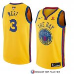 Maillot Golden State Warriors David West 3 Ciudad 2017-18 Or