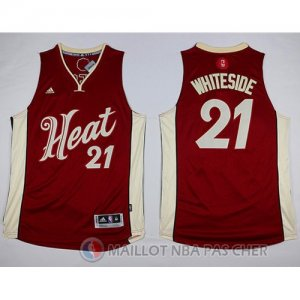 Maillot Miami Heat Whiteside Noël #21 Rouge