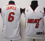 Maillot Enfant de James Miami Heat #6 Blanc