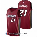 Maillot Authentique Miami Heat Whiteside 2017-18 21 Rouge