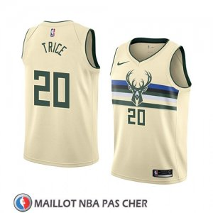 Maillot Milwaukee Bucks Travis Trice No 20 Ciudad 2018 Crema
