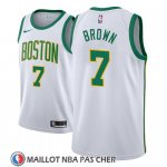 Maillot Boston Celtics Jaylen Brown No 7 Ciudad 2018-19 Blanc
