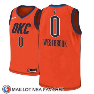 Maillot Oklahoma City Thunder Russell Westbrook No 0 Earned 2018-19 Orange